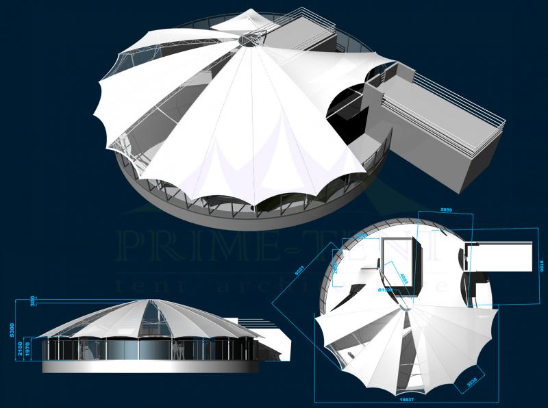 Комплекс тентов на крышу высотки